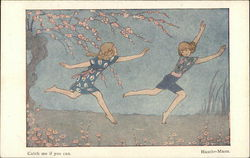 Illustration - Two Girls Chasing Outdoors