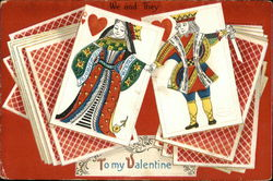 Queen and King of Hearts on Deck of Cards for Valentines
