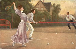 Couple Playing Tennis with a Man