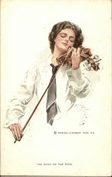 Female musician in a white shirt playing violin