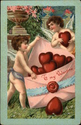 To My Valentine - Cherubs with Envelope Full of Hearts