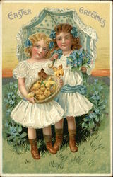 Easter Greetings - Two Girls in White Holding Flowers and Chicks