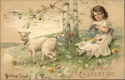Girl with Lambs, Easter Eggs