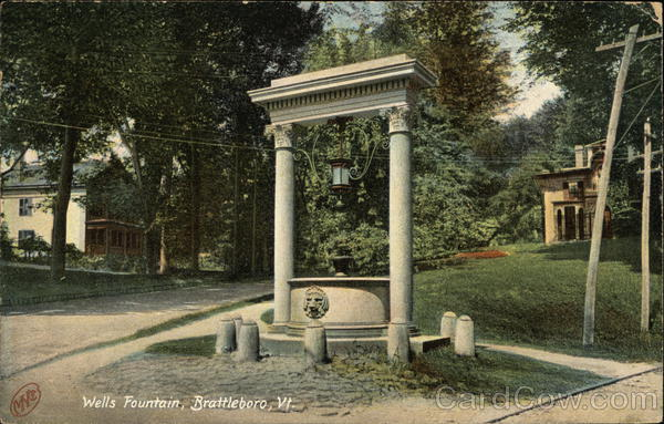Postcard Wells Fountain, Brattleboro, VT / Vermont Post