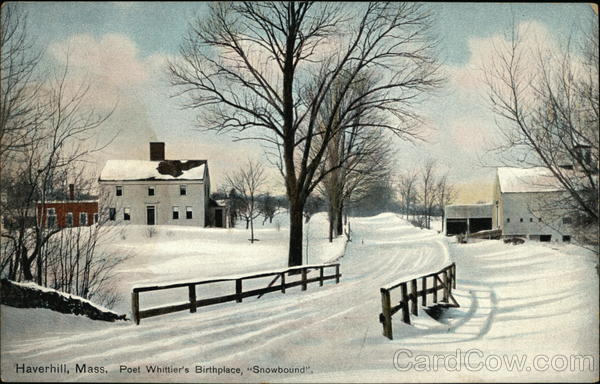 Poet Whittier's Birthplace, Snowbound Haverhill Massachusetts