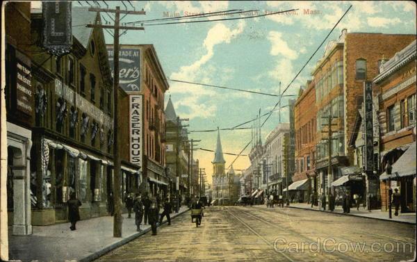 Main Street, North from Elm Brockton, MA Postcard