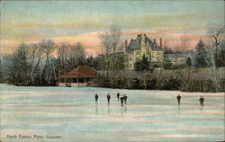 Boys Playing Ice Hocky with Large House in Background