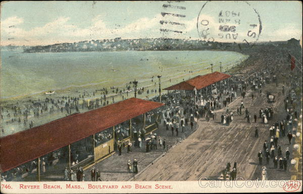 Boulevard and Beach Scene, Revere Beach Massachusetts