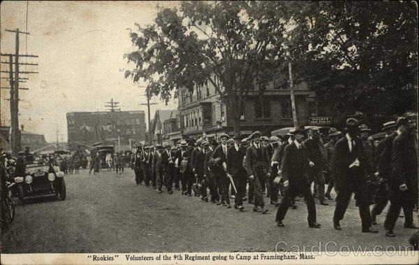 Rookies Volunteers of the 9th Regiment going to Camp Framingham Massachusetts