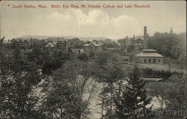 Bird's Eye View, Mt Holyoke College and Lake Nonotuck South Hadley Massachusetts