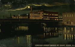 Chicago Street Bridge by Night Postcard