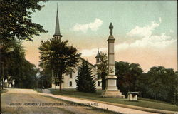 Soldiers Monument and Congregational Church Postcard