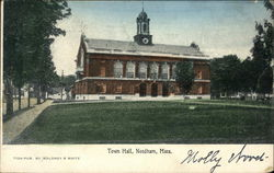 Town Hall and Grounds Postcard