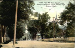 North Main Street from the Square, Congregational Church on the Right