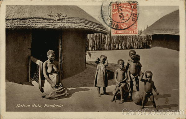 Native Huts and Residents Buluwayo Rhodesia Africa