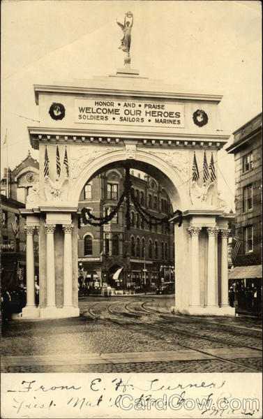 Arch Erected To Honor WWI Returning Soldiers Fall River Massachusetts