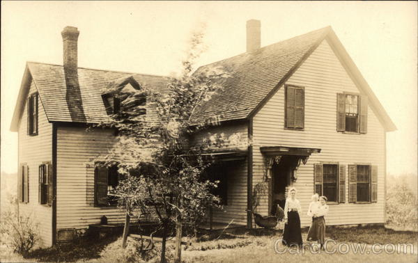 Woman, Girl, and Baby in Front of House with Baby Carriage in 1918 Franklin Massachusetts
