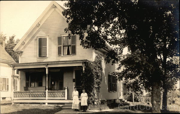 Two Women in Front of House in Franklin, MA in the Year of 1918 Massachusetts