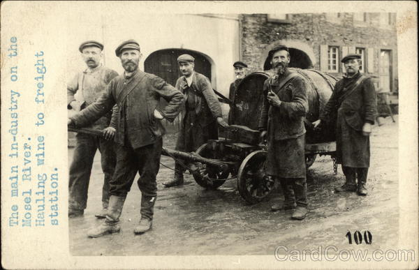6 workmen pulling a cask of wine Germany
