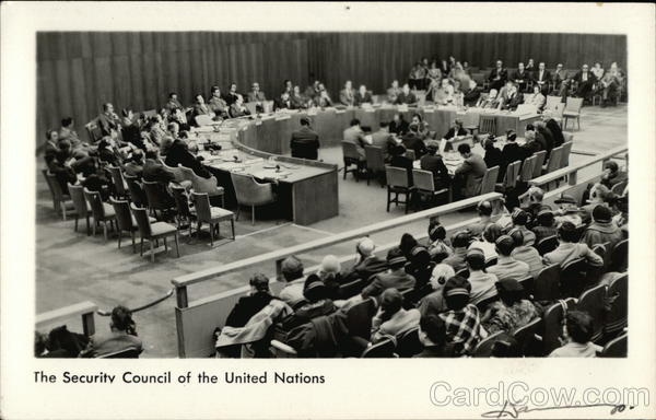 United Nations Security Council In Session at Interim Lake Success Location West Hempstead New York