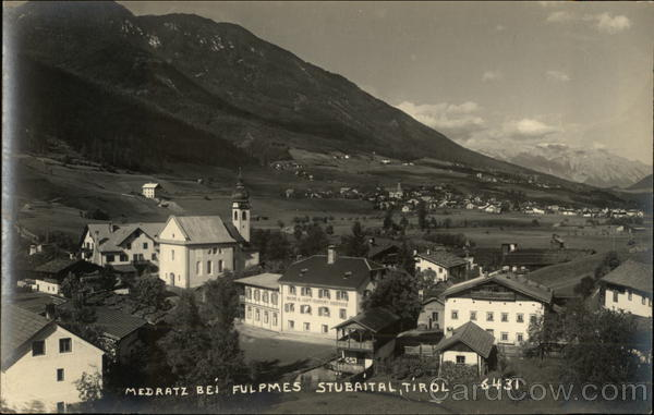 View of Town and Mountains, Stubaital Medratz Austria