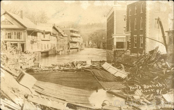 A Collapsed Building by a River in 1891 Disasters