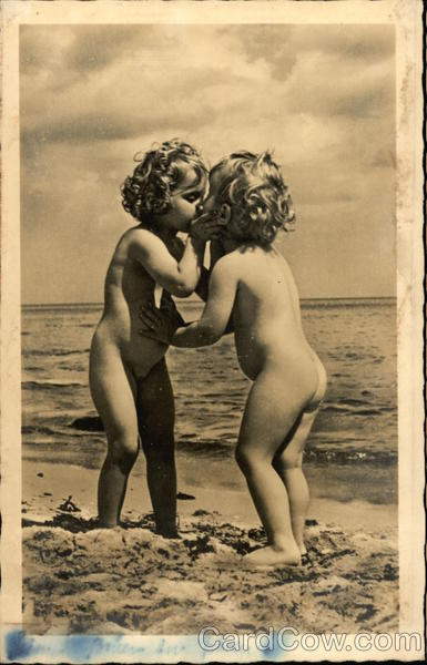 Two naked children kissing Risque & Nude