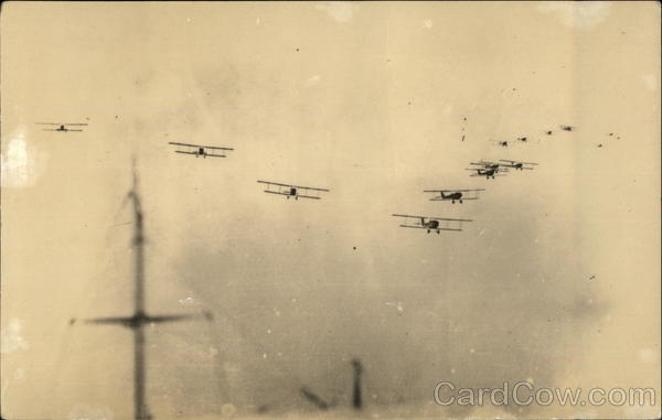 Biplanes Flying in Formation Aircraft
