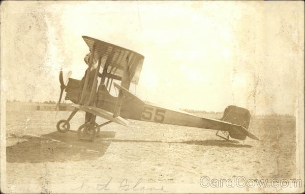Biplane with Pilot Alighting Aircraft