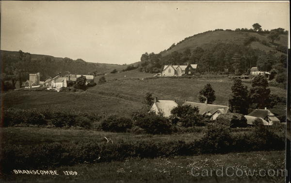 View of Village and Hills Branscombe England