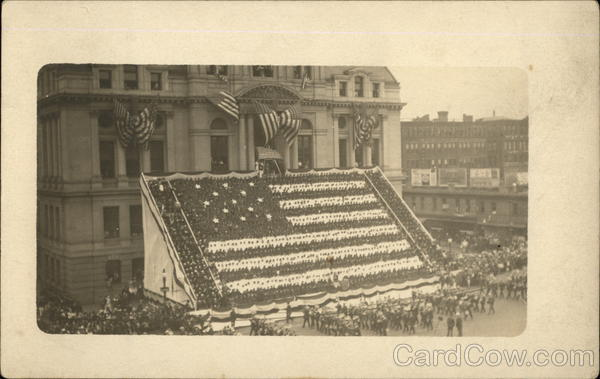 Federal Courthouse Staged for Woodrow Wilson's Call for Preparedness, 1916 Providence Rhode Island