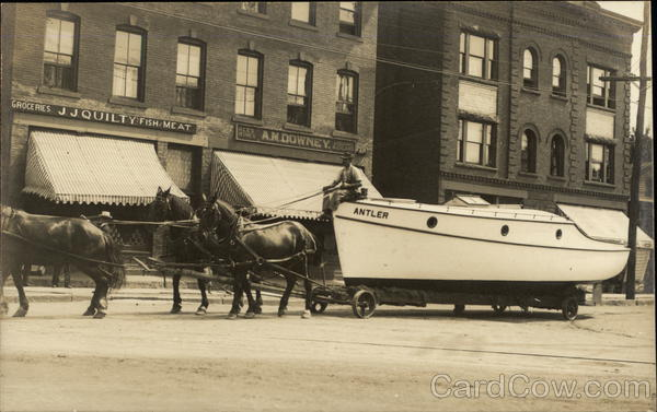 Horse Team Pulling Boat Antler Through Town - J.J. Quilty Grocery New Britain Connecticut