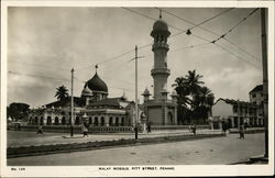 Black and White Photo of Malay Mosque on Pitt Street in Penang