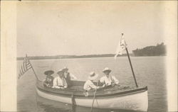 Men in a Rowboat with Flags in the Water