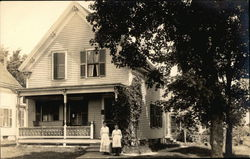 Two Women in Front of House in Franklin, MA in the Year of 1918