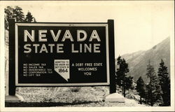Nevada State Line - A Debt Free State Welcomes You