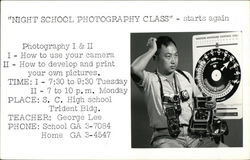 Night School Photography Class Advertisement with Photographer Postcard