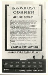 Sawdust Corner Suicide Table in Virginia City, Nevada