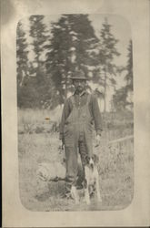 Man With Bedroll And Dog