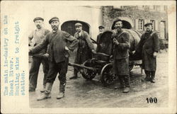 6 workmen pulling a cask of wine