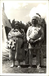 Native American Man and Woman in Traditional Dress