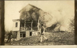 Men Fighting Fire at Middle Haddam on Jan. 1st, 1909