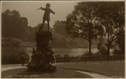 Statue of Peter Pan in a Park by the Waterfront in London