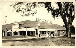 White's Garage, With Gas Pumps Postcard
