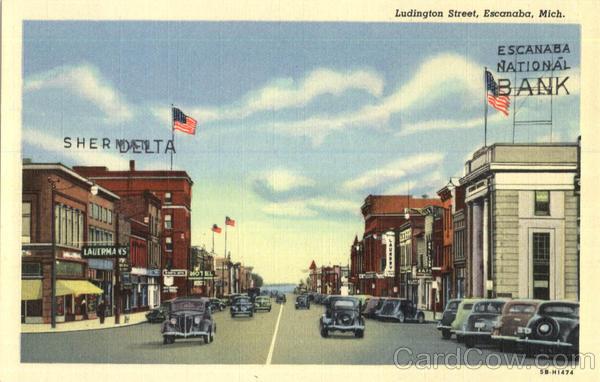 Ludington Street in Escanaba, Michigan - Postcard   eBay