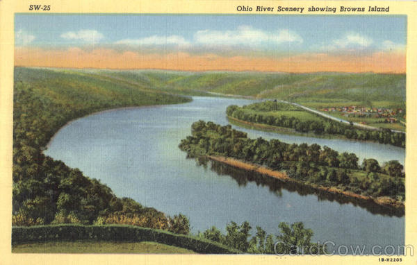 Ohio River Scenery Showing Browns Island Weirton West Virginia