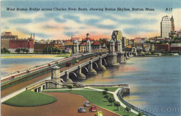 West Boston Bridge Across Charles River Basin Old Postcard