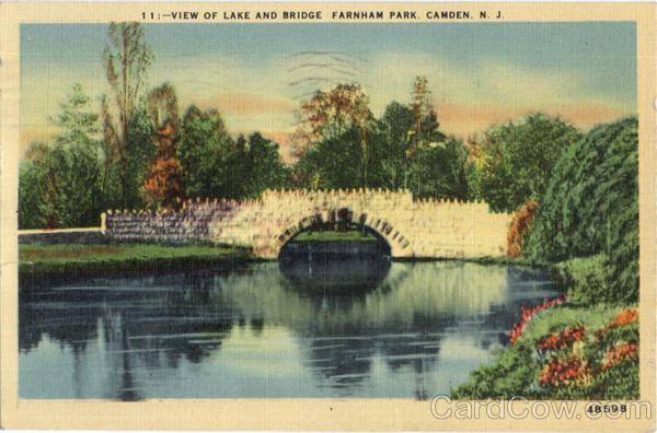 View Of Lake And Bridge, Farnham Park Camden New Jersey