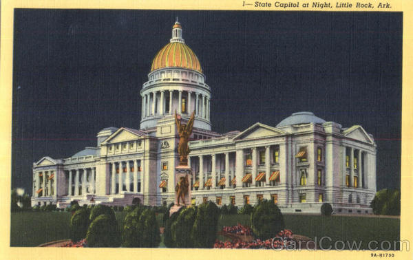 State Capitol At Night Little Rock Arkansas