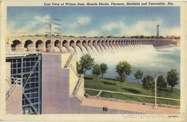 East View Of Wilson Dam, Muscle Shoals Florence Alabama